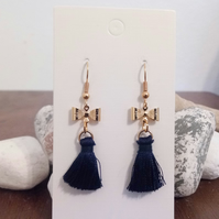 Gold Bow and Blue Tassel Earrings
