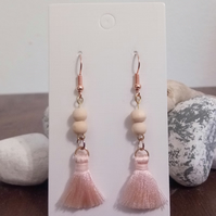 Rose Gold and Pink Tassel Dangle Earrings