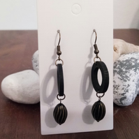 SALE Black Wooden Hoop and Black Gold Bead Earrings