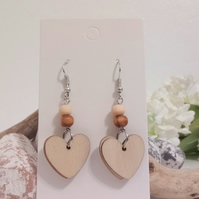 Silver and Wood Heart Dangle Earrings