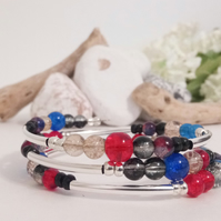 Glass Crackle Bead Bracelet Bangle - Blue, Red, Black and Clear