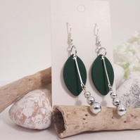 Green Wooden Leaf Pendant and Silver Bead Dangle Earrings
