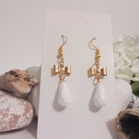 Gold Bow and White Faceted Bead Drop Earrings