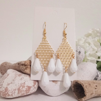 Statement Gold Dangle Earrings with White Faceted Drop Beads