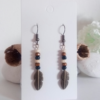 Wooden Beads and Antique Bronze Feather Dangle Earrings