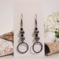 Gun Metal and Black Bead and Hoop Earrings