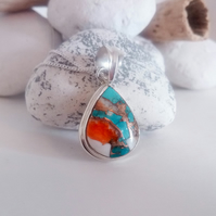 Beautiful Spiny Oyster Shell Copper Turquoise Stone Sterling Silver Necklace
