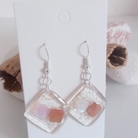 Transparent Resin Earrings with White & Brown Pearlescent Squares & Gold Flecks