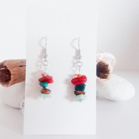 Natural Gemstone Crystal Earrings; Carnelian, Malaktite, Tiger Eye, Amazonite
