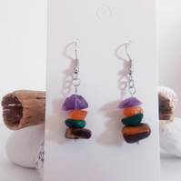 Natural Gemstone Crystal Earrings; Amethyst, Carnlelian, Malekite, Amazonite