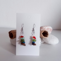 Natural Gemstone Crystal Earrings; Carnelian, Amazonite, Peridot, Lapis Lazuli..