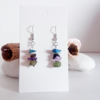 Natural Gemstone Crystal Earrings; Lapis Lazuli, Amazonite, Smokey Quartz, Ameth