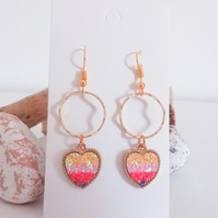 Gold and Multicolour Sequin Heart Earrings