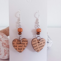 Silver and Wood Book Lover Heart Dangle Earrings