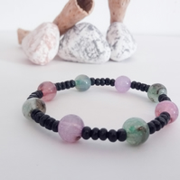 Acrylic and Wooden Bead Bracelet
