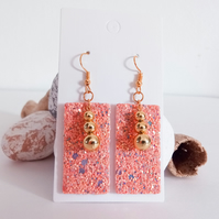Faux Leather Sequin Sparkle Earrings