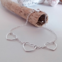 Sterling Silver Three Heart Bracelet