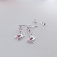 Sterling Silver Bird  with Pink Cubic Zirconia Wing Charm Earrings