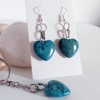 Blue Crazy Lace Agate Heart Earrings and Keyring Gift Set