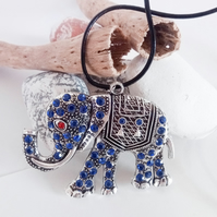 Large Rhinestone Elephant Pendant Leather Necklace