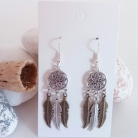 Silver and Bronze Dreamcatcher Flower and Feather Earring