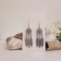 Silver Dreamcatcher Flower and Feather Earring