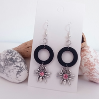 Silver Spider with Pink Glass Gem and Black Wood Hoop Earrings