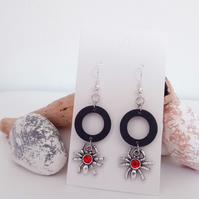 Silver Spider with Red Glass Gem and Black Wood Hoop Earrings