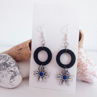 Silver Spider with Blue Glass Gem and Black Wood Hoop Earrings