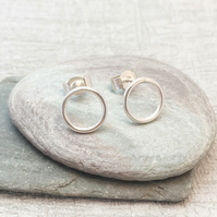 Circle Stud Earrings Sterling Silver