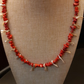 Red coral and champagne shell necklace