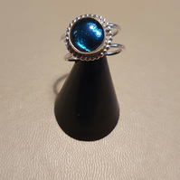 Dichroic blue glass and Sterling silver ring