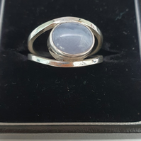 Blue lace agate ring, Sterling silver ring with blue lace agate stone, silver