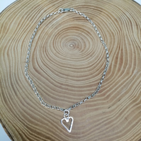 Sterling silver anklet, silver anklet with Heart.Anklet