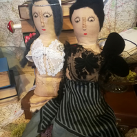 The Moth Sisters Art Doll, OOAK art doll, circus , moth inspired