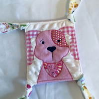 Pink dog  babies Taggy blanket