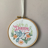 Dream and humming bird embroidered picture.