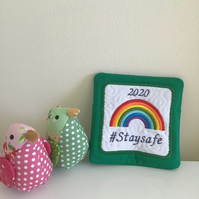 Stay safe coaster or keepsake in green