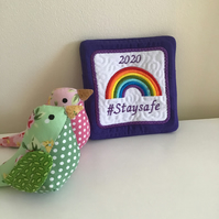Stay safe coaster or keepsake in purple.