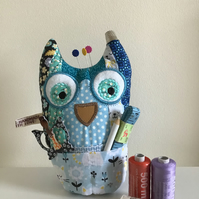 Large patchwork Owl pincushion and storage caddy. Blue . Reduced.