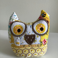 Owl pincushion and storage caddy in yellow. Reduced.