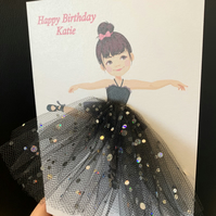 A5 handmade personalised ballerina birthday card 3d tutu skirt tulle unique cute