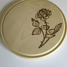 Rose Design on Round Bread Board. Pyrography