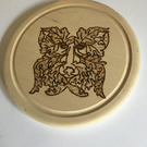 Green Man Round Bread Board. Pyrography