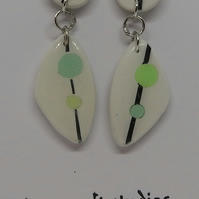 Green spot ceramic earrings