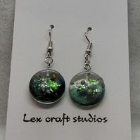 Green sparkle resin earrings