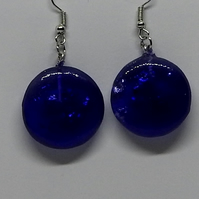 Large deep blue sparkle earrings