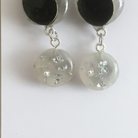 Black and white sparkle small  earrings