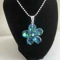 Blue and green sparkle flower  necklace