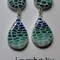 Handmade mosaic teardrop  ceramic earrings